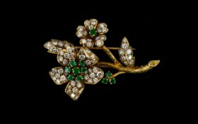 Van Cleef and Arpels Style Stunning Emerald and Diamond Set Flower Spray Brooch,
