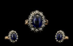 Russian - 1970s Fine Quality 14ct Gold Sapphire & Diamond Set Dress Ring. Flowerhead design.