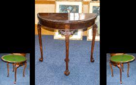 Mahogany Victorian Period Folding Hall/Card Table.