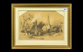 Framed and Glazed Pencil Sketch signed J E Rush 1882 lower left.