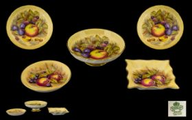 Aynsley Collection of Hand Painted ( Fruits ) Small Dishes ( 3 ) Signed D. Jones to All Pieces.