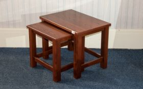 Nest of Two Tables Contemporary style, mahogany finish.