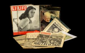 Collection of Winston Churchill Ephemera including magazines, newspapers, sketches and photographs.