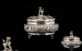 Burmese Silver Antique Trinket Box.