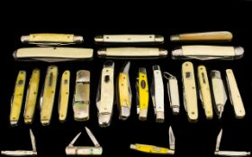 Excellent Collection of Top Quality Single and Double Blade Penknives ( 20 ) In Total. c.1930's -