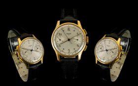 Pontiac - Gents Mechanical 18ct Gold Cased Chronograph Wrist Watch. c.1950's.