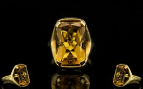 14ct Yellow Gold - Superb and Attractive Single Stone Citrine Set Dress Ring,