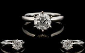 Ladies Superb 14ct White Gold Single Stone Diamond Ring, Contemporary Design. The Round Modern