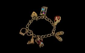 9ct Gold Fancy Bracelet Loaded with Six Good Quality 9ct Gold Charms, Bracelet,