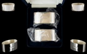 Elizabeth II Pair of Contemporary Sterling Silver Napkin Holders In Original Wrappers and Display