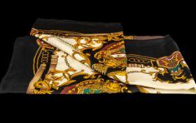 Basler Designer Vintage Silk Scarf. Black background with gold and green designs. Lovely designer