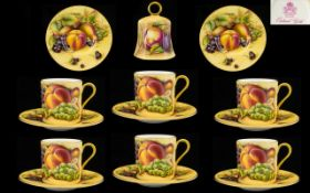 Aynsley - Fine Set of 6 Coffee Cups & Saucers, 12 pieces in total. Fallen Fruits pattern 'Orchards