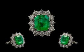 18ct White Gold Stunning Quality Emerald and Diamond Set Cluster Dress Ring of Wonderful