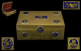 A Late 19th/Early 20thC Chinese Cigarette Box, lacquered brass with enamelled roundels and