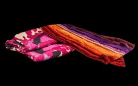 Two Designer Winter Scarves including an SM multi coloured velvet scarf, and a long wide scarf in