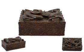 Japanese Early 20th Century Finely Carved Wooden Lidded Trinket Box, The Top Cover with Applied