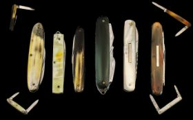 Top Quality - Antique Period and Early 20th Century Horn and Mother of Pearl Handle Penknives (