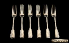 Early Victorian Period Set of Six Sterling Silver Forks of Solid Construction and Pleasing Design.