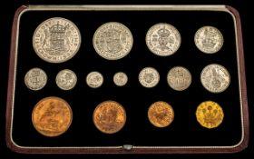 Royal Mint George VI - 1937 Specimen Coin Set ( 15 ) Coins with Original Red Leather Presentation