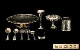 A Small Collection of Assorted Silver to include an Art Deco footed comport with a molded shaped
