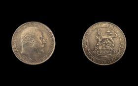 United Kingdom King Edward VII 1902 - 1910, Uncommon 1905 Silver Shilling,