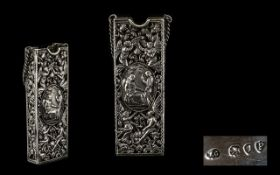 William Comyns Impressive Solid Silver Spectacles Open worked Case with Ornate and Embossed Images