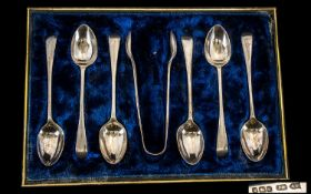 Boxed Set Of Six Silver Spoons Together With Matching Sugar Nips, Silk Lined Fitted Case, Hallmarked