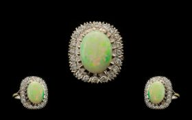 18ct White Gold Attractive and Nice Quality Opal and Diamond Set Cluster Ring, Flower head Setting.