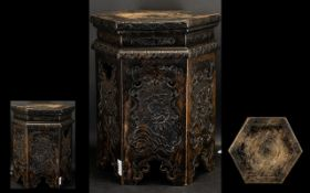 Chinese - Six Sided Nice Quality 19th Century Display Stand / Table. c.1850. The Top Cover with