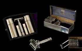 Wilkinson Sword Nice Quality 1930's Seven Day Empire Safety Razor - Shaving Set,