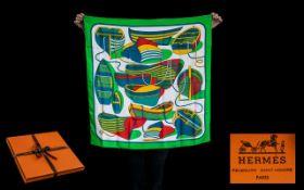 Hermes Silk Scarf: Thalassa by Pierre Peron Original Issue.