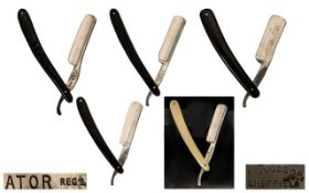 An Antique Period Collection of High Quality Hollow Ground Straight Razors ( 5 ) In Total.