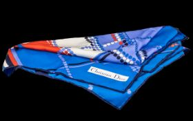 Christian Dior Silk Scarf. Blue ground, with dots and stripes. Lovely designer scarf, please see