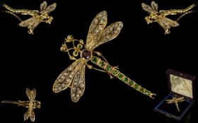 Antique Period Stunning 18ct Gold Dragonfly Brooch, Set with Diamonds to Wings,