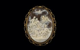 A Large and Impressive Shell Cameo 9ct Gold Mounted Brooch of Oval Form,