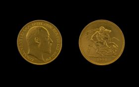 Edward VII 22 Ct Gold Superb Five Pound Proof Struck Coin top grade. Please confirm with photo.
