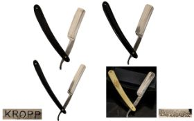 A Fine Quality Collection of Antique Period Hollow Ground Steel Razors - All with Original Razor