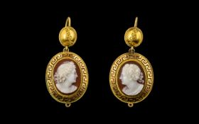 Antique Period - Early Victorian Stunning Quality Pair of 18ct Gold Cameo Set Earrings,