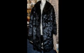 Ladies Black Mink Coat by Alex Jackson of Glasgow. Full length coat with long sleeves, approx size