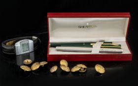 Collection of Pens & Collectibles including Novartis stainless steel fountain pen with gilt trim;