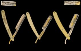 Antique Period Top Quality - Trio of ( 3 ) Hollow Ground Steel Straight Razors From Top Makers.