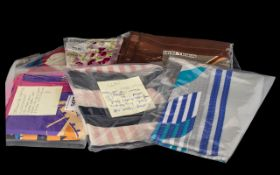 Collection of Vintage Silk Scarves including Norma Dori grey and brown scarf circa 1970s. Hand