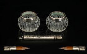 A Pair of Silver Top Salt Pots London c1919 & A Silver Cased Pencil c.1930.