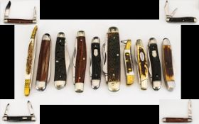 An Antique Period Excellent Collection of Ankler Handle - Steel Two Bladed Pocket Penknives -