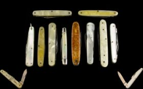 Excellent Collection of Early to Mid 20th Century High Quality Penknives with Mother of Pearl and