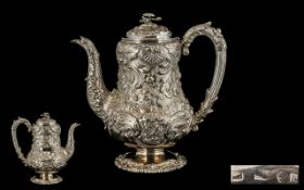 George IV Superb Quality Very Ornate Silver Coffee Pot of Stunning Appearance.