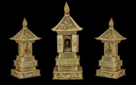 Japanese 19th Century Carved Ivory Stepped Shrine / Temple with Seated Deity Figures Within,