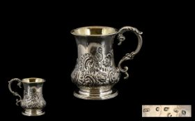 George Unite Nice Quality Sterling Silver Embossed Cup of small proportions with scroll handle/swan