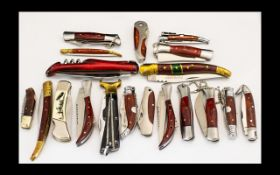 A Good Collection of Vintage Penknives ( 20 ) In Total of Solid Construction,