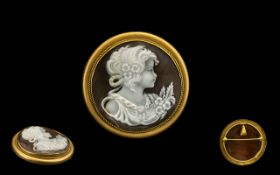 18ct Gold Attractive Round Shaped Cameo Pendant / Brooch of Excellent Quality,